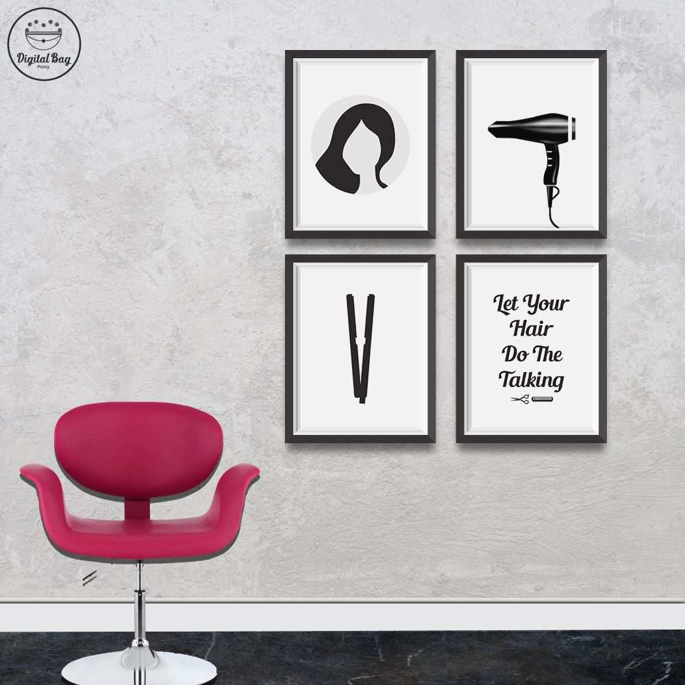 Hair Salon Decor Set Of 4 Digital Download Poster Prints Etsy In