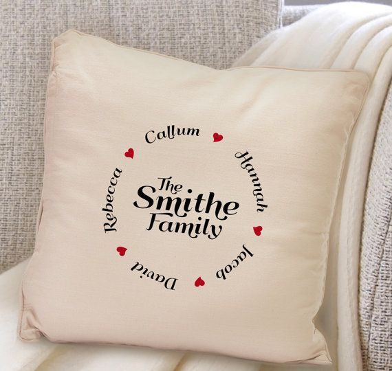 Embroidery designs · Personalised family circle family names cushion ...