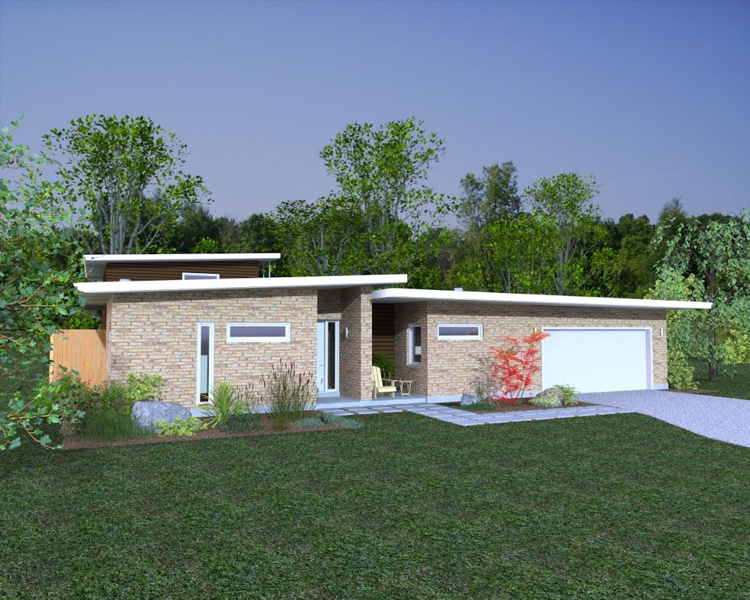 Rendering of mid-century modern home in Dallas, TX. Designed and ...
