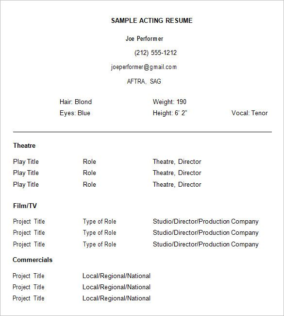 Acting Resume Template Free , How to Create a Good Acting Resume - Sample Of Acting Resume