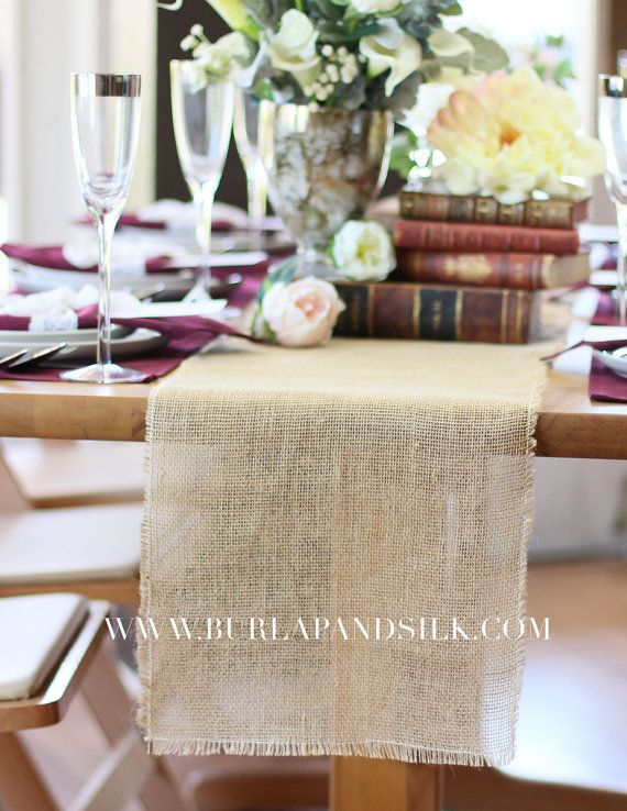 Burlap Table Runner With Fringed Edge 12 1 2 Inches X 120 Inches Rustic Burlap Table Runners Wedding Table Decor Outdoor Gatherings