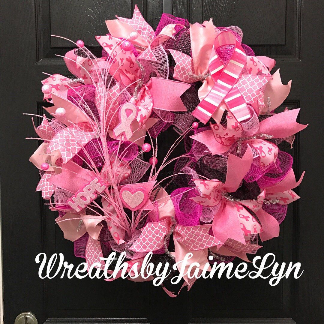 A personal favorite from my Etsy shop https://www.etsy.com/listing/507134794/breast-cancer-awareness-wreath-front