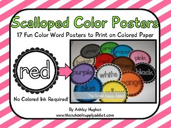 20 Page PDF Containing Black And White Scalloped Color Word Posters Print Them On Colored