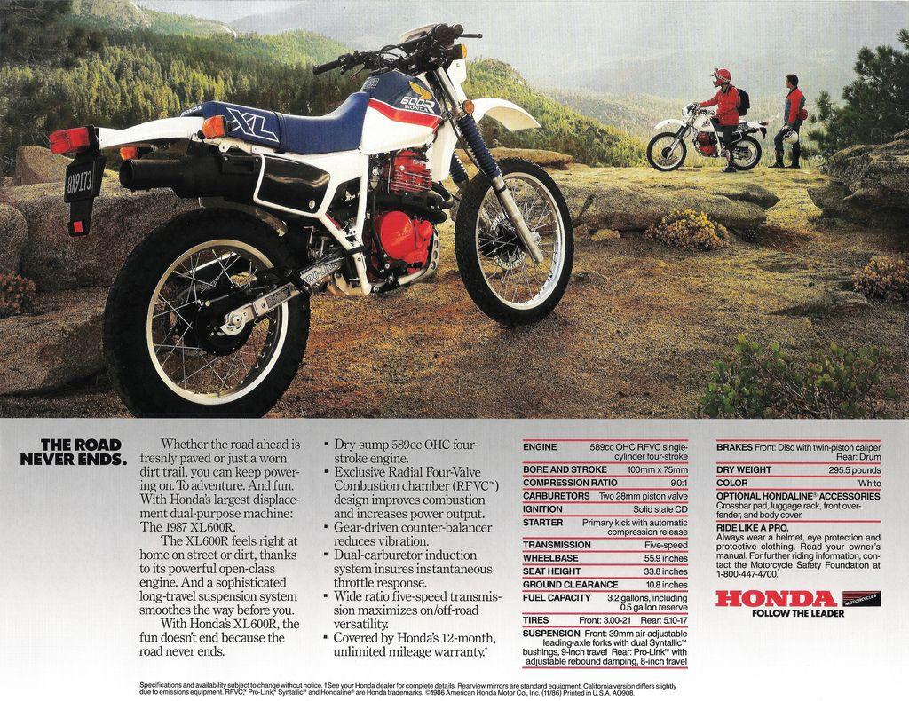 1987 Honda Xl600r Brochure Back Honda Enduro Motorcycle Old Ads