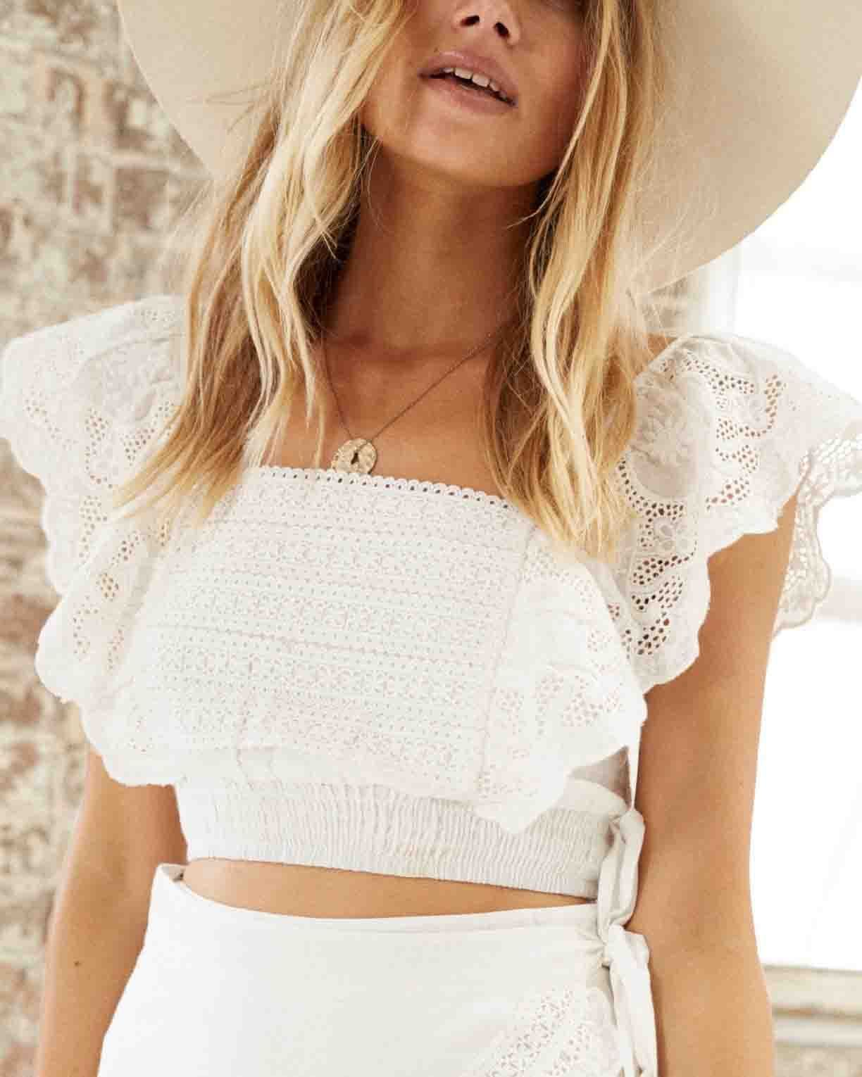 2e52545050 Somedays Lovin - Carry Away Eyelet Lace Crop Top - Off White in 2019 ...