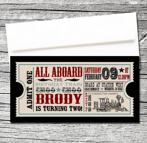 Train Ticket Invitations Set Of 10 By Theblueeggevents On Etsy 1950