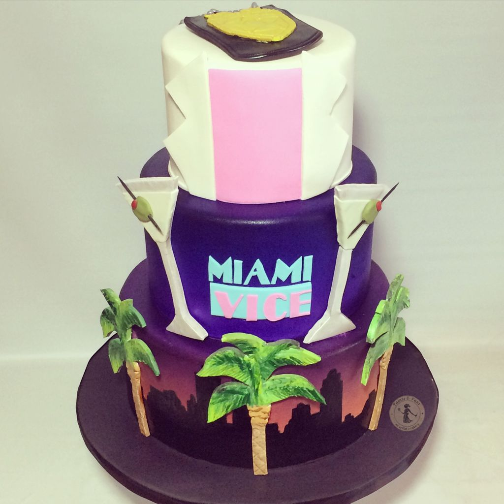 Amazing Miami Vice Birthday Cake Miami Party Miami Vice Funny Birthday Cards Online Alyptdamsfinfo