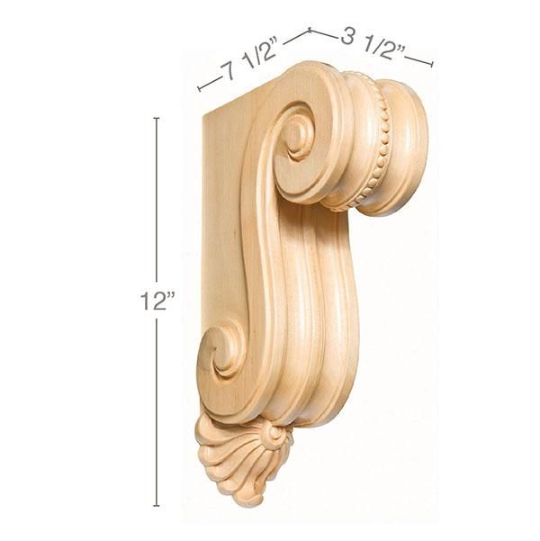 Medium Scrolled Bracket Corbel 3 1 2 W X 12 H X 7 1 2 D In 2020 Decorative Corbels Innovation Design Wood Species