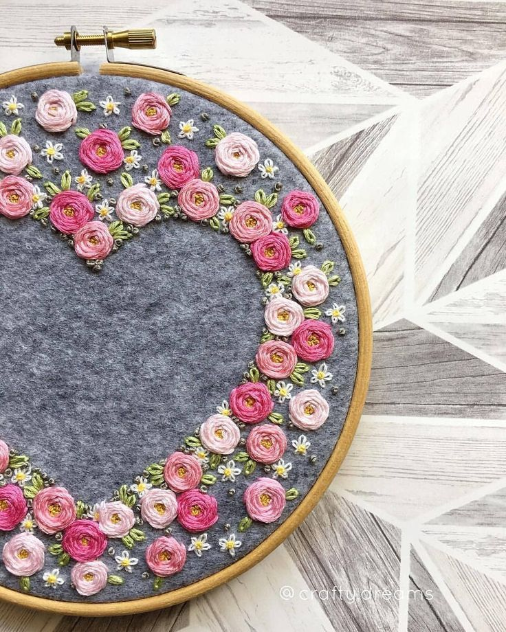 """Photo of Embroidery 🌱 Вышивка on Instagram: """"@ crafty.dreams #embroidery #ashrifaanwer #heart #hoopembroidery #etsy #etsyuk #etsyseller #dmcthreads #handmade #floral # floralembroidery…"""""""