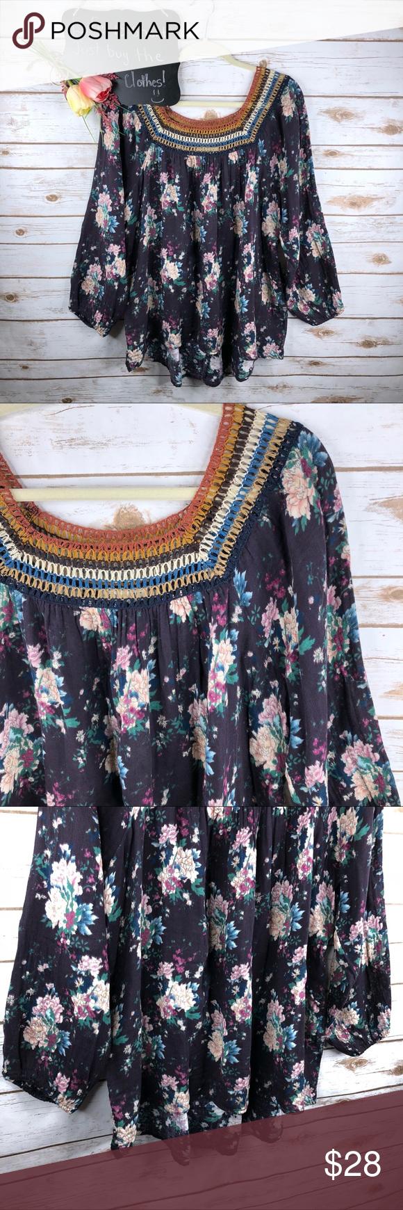 Tassels Lace Floral Gauzy Cotton 3 4 Sleeve Top Fashion Clothes Design Lace Top Blouse