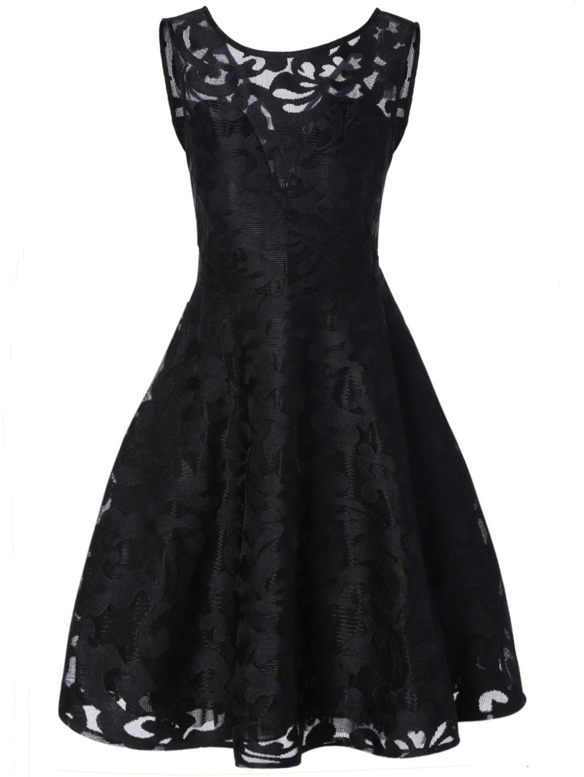 Sheer Lace Plus Size Vintage Party Short Prom Dress In Black,3xl | Twinkledeals.com