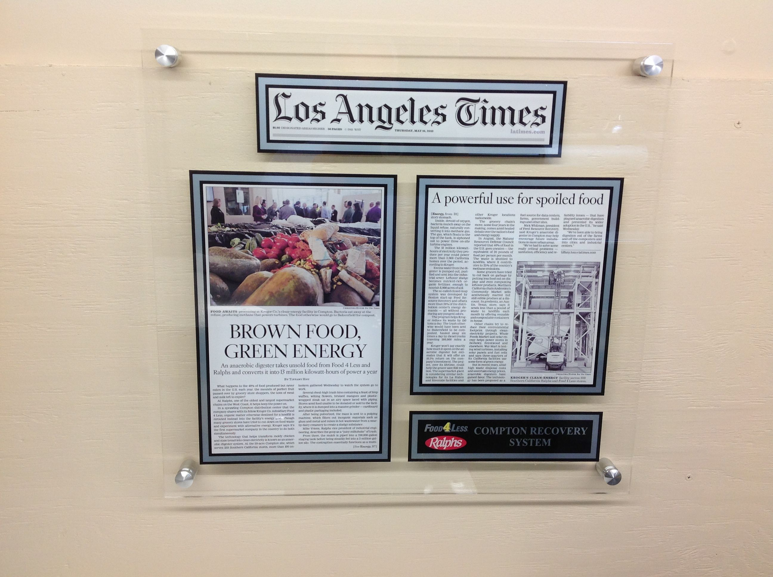 los angeles times newspaper article feed project recovery framing
