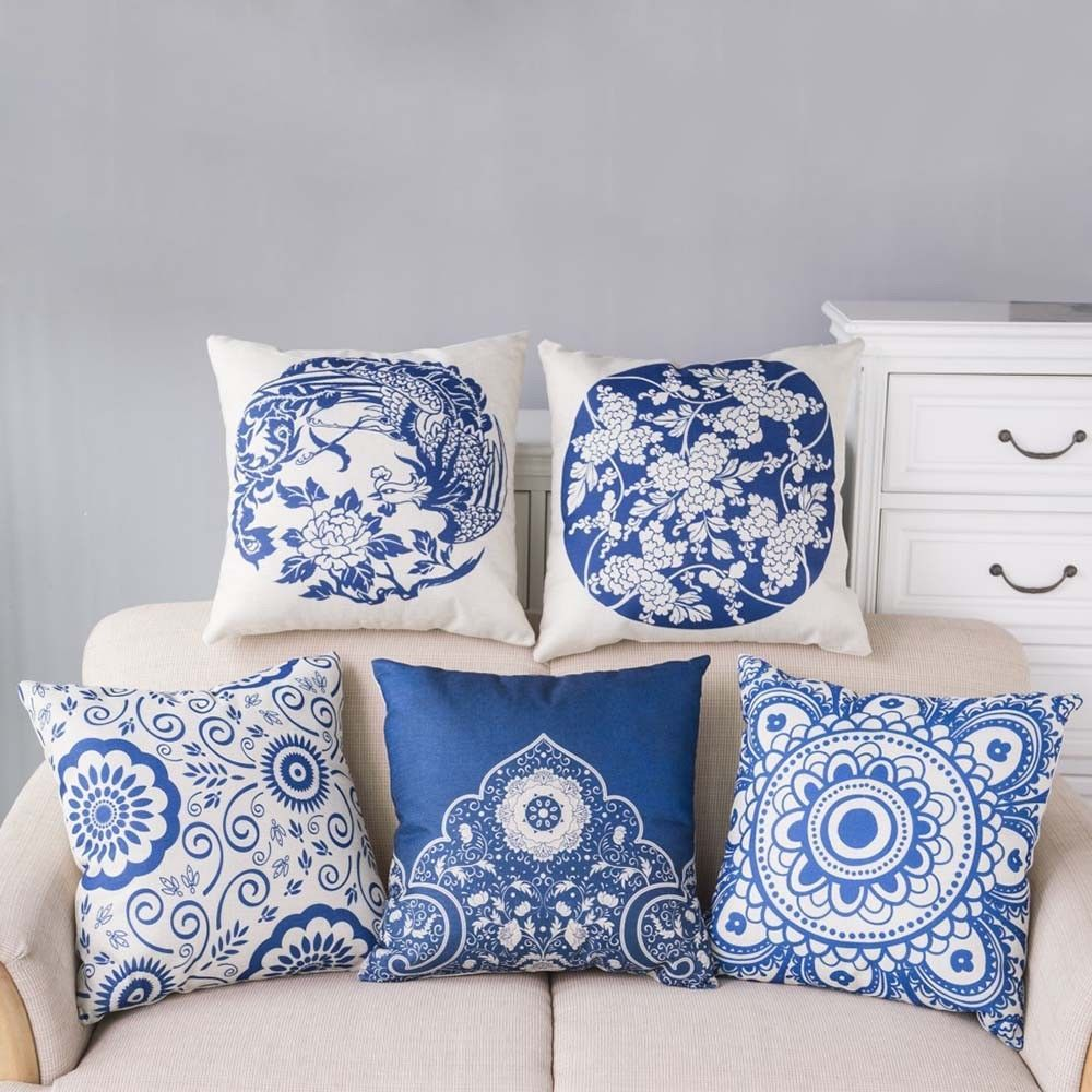 Blue And White Porcelain Pattern Throw Pillow Case Square Sofa Bed Cushion Cover Almofadas Decoracao