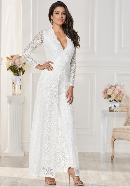 043019b7cff Forgiving sheer lace overlay acts as a dress while the lace jumpsuit is perfect  underneath.