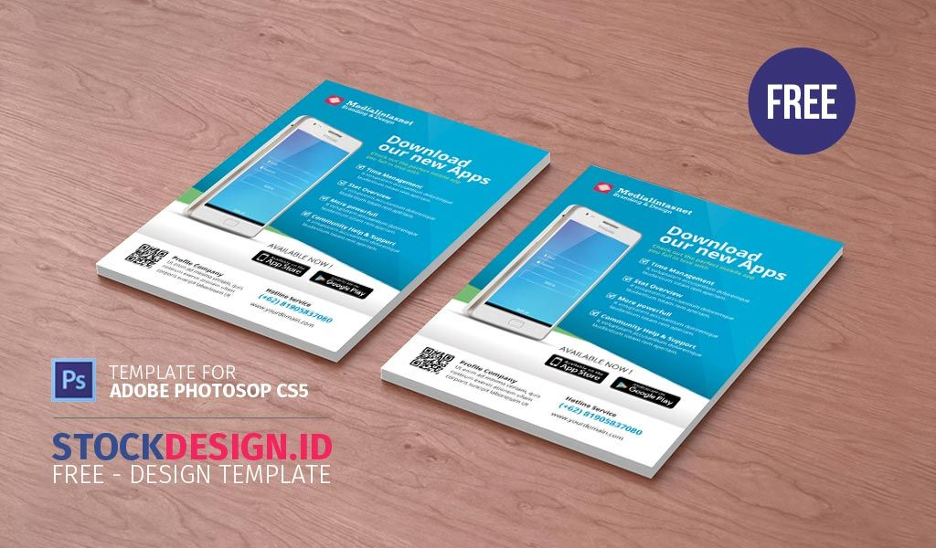 free mobile app promotion flyer a5 stockdesign id pinterest