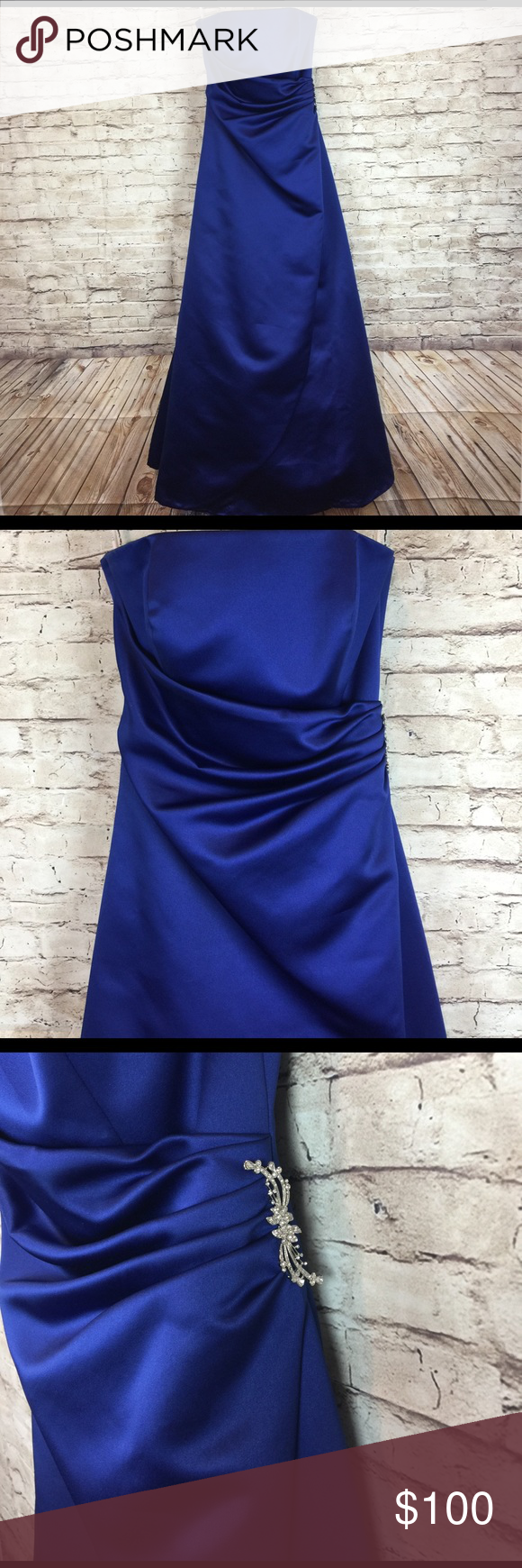 David's Bridal Royal Blue Strapless Gown Beautiful David's Bridal Royal Blue Strapless Gown. Flawless. View photos for details. Perfect for a bridesmaid gown or for a formal event. David's Bridal Dresses Strapless