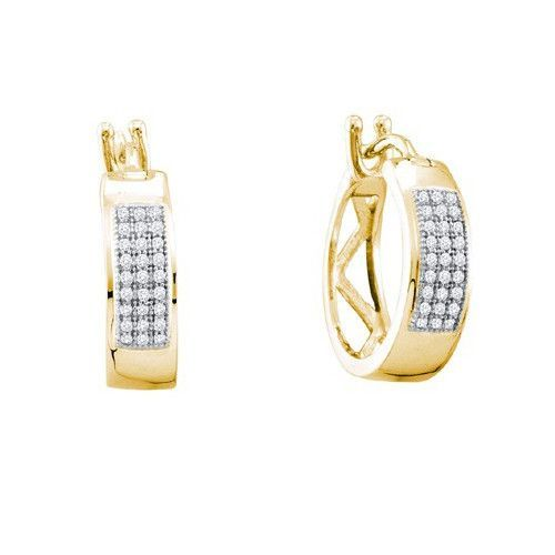 925 YP 0.16Ctw Diamond Micropave Hoop Earrings: Earrings