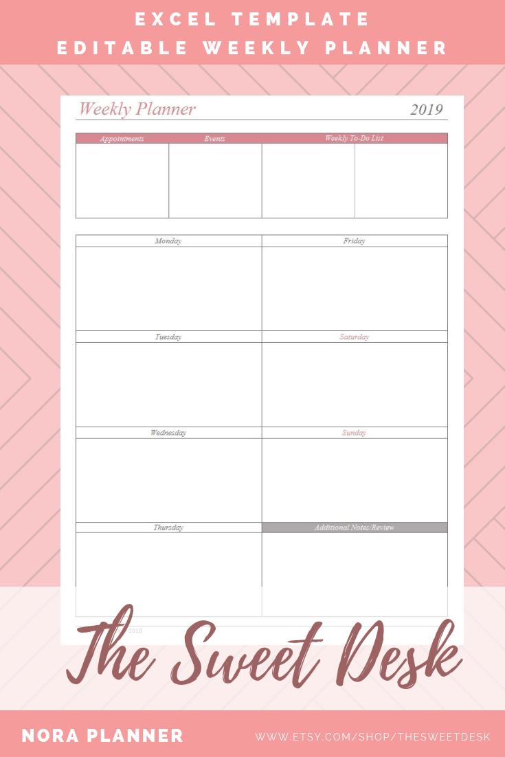 Printable weekly planner template Wonderful
