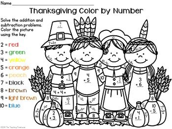Thanksgiving Color by Number ~ Addition & Subtraction