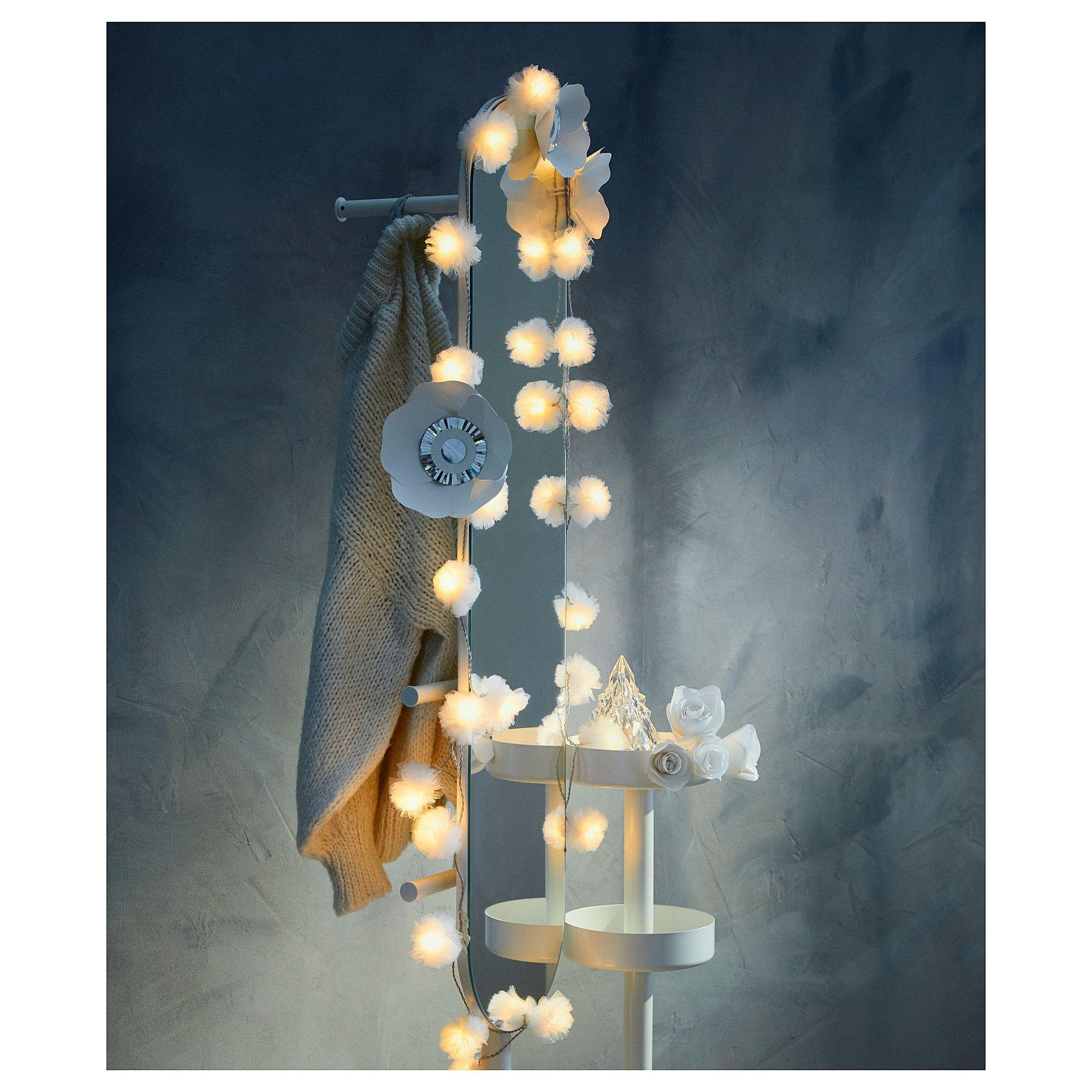 LIVSÅR indoor, tulle white, LED lighting chain with 24