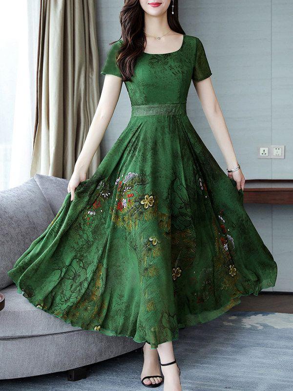 Round Neck Floral Printed Maxi Dress – Dressynew.com
