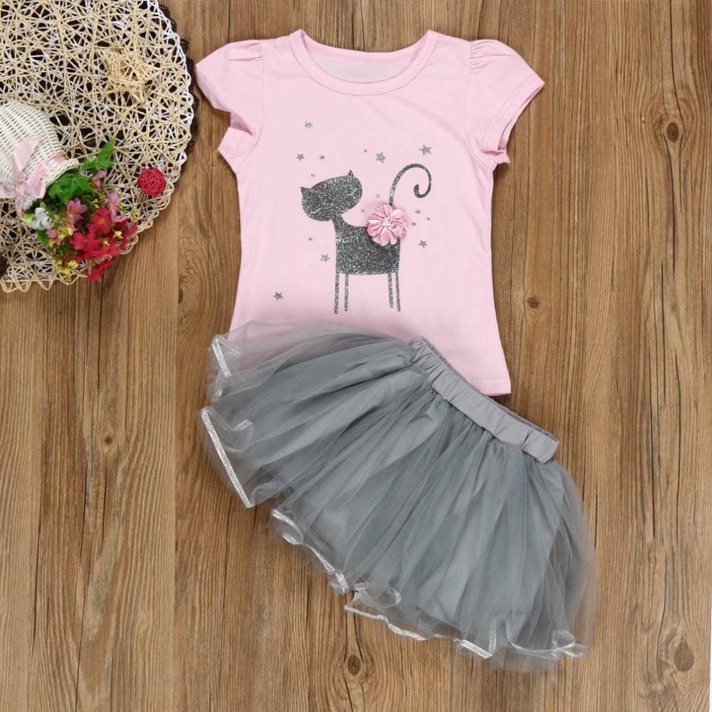 864bffcc Vicbovo Clearance Sale Summer Girls Dresses Kids Toddler Baby Girl Short  Sleeve Cute Cat Print Tutu Party Princess Dress Clothes Pink 3T >>> Learn  more by ...