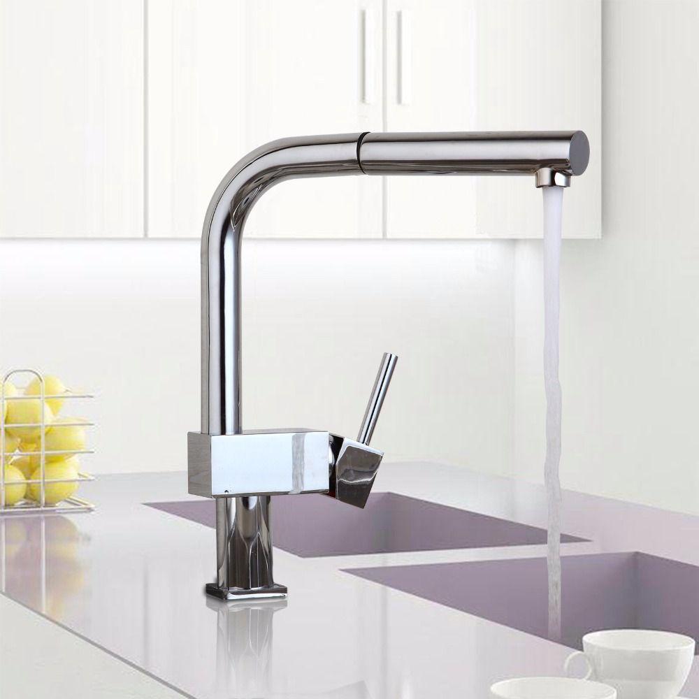 De contemporary 360 swivel stream pull out spout kitchen sink faucet polish chrome brass countertop tap