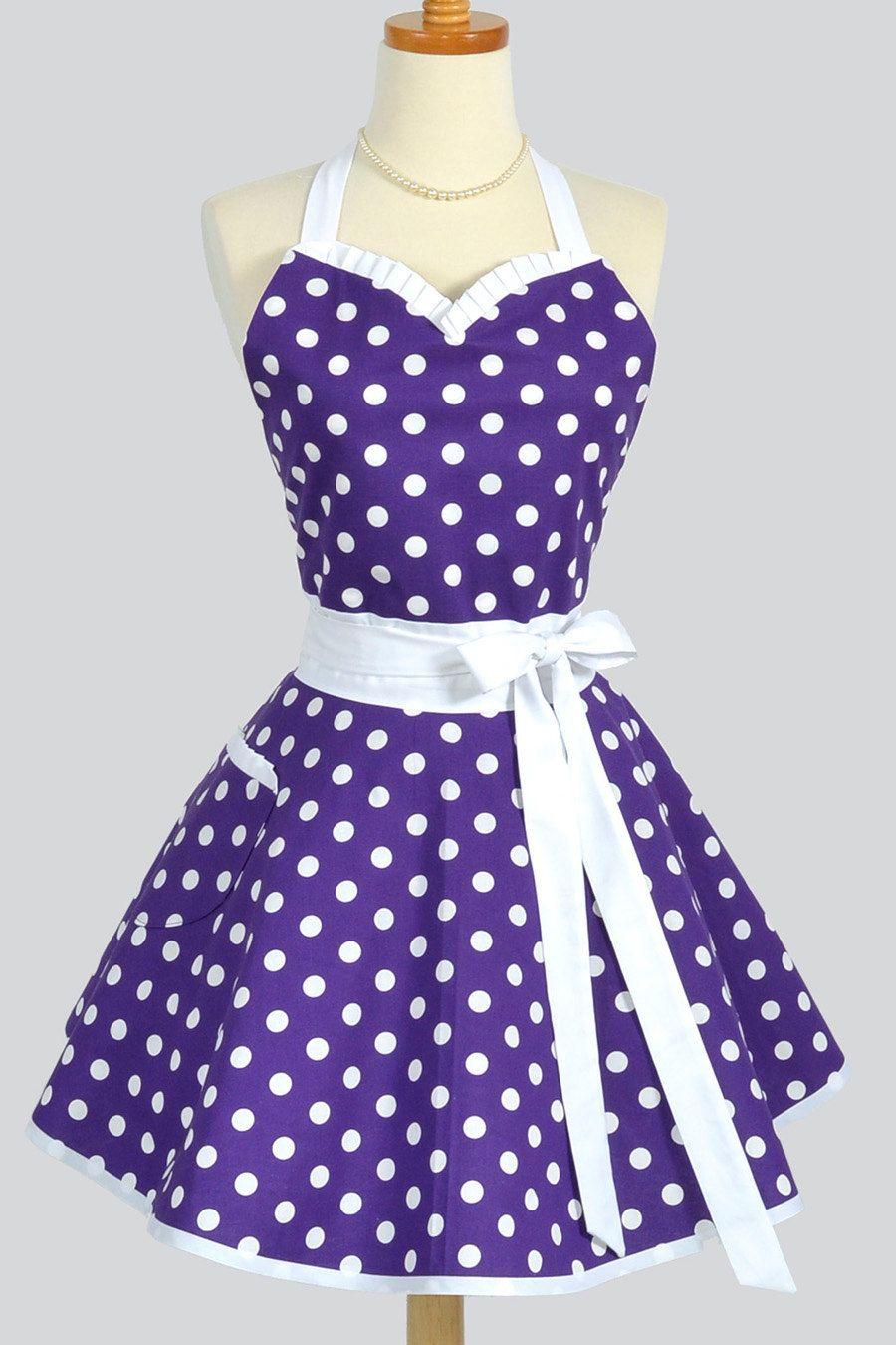 Retro Kitchen Apron in Purple and White Dots | Purples ...