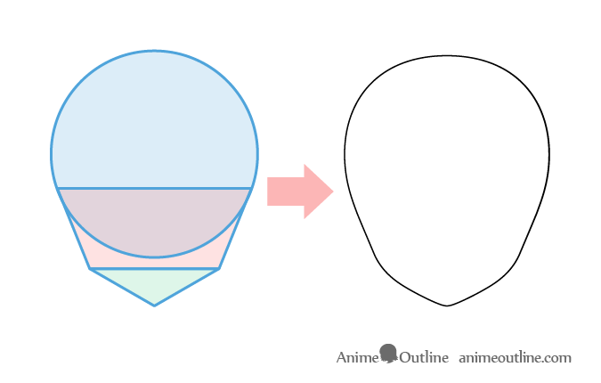 Anime Head From Basic Shapes Structure Anime Head Shapes Anime Face Shapes Drawing Tutorial