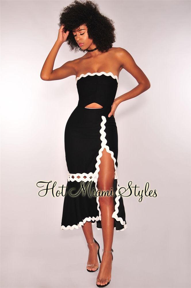 ab1390a0b7cc Black White Scalloped Strapless Slit Mermaid Dress in 2019   Fashion ...