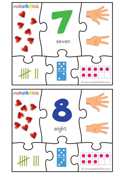 Numbers 7 And 8 Puzzle Game For Kids Printable Number Matching Puzzles Puzzle Games For Kids Number Puzzle Games Maths Puzzles