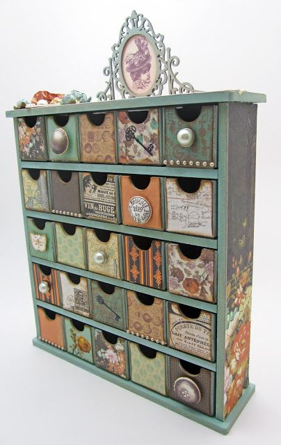 Small Drawers Decorated Individually, Idea For Crafts Corner