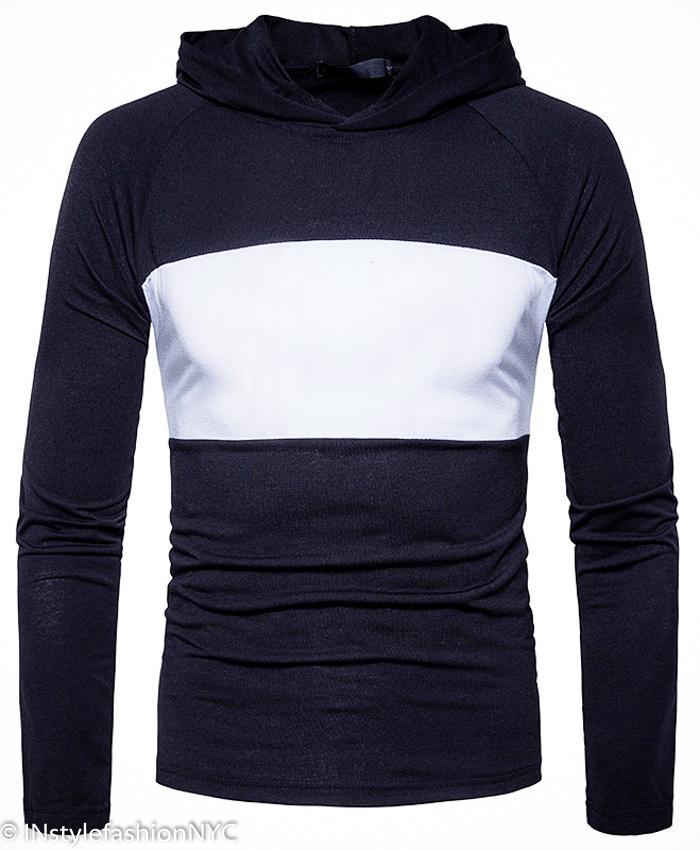 Mens Turtleneck Sweatershirt Sport Hoodie Slim Fit Pullover Hooded Irregular Top