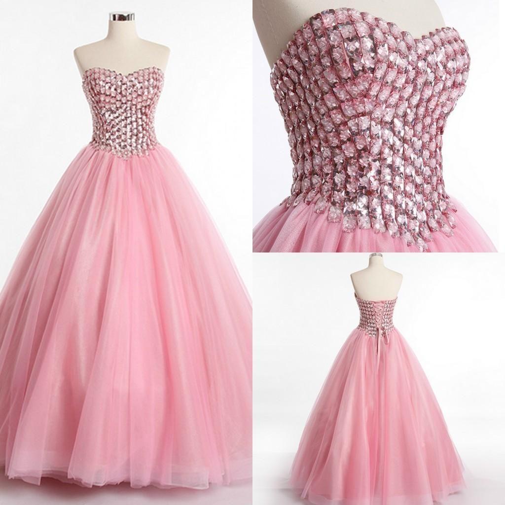 2016 Pink Evening Dresses Sweetheart Off Shoulder Beaded