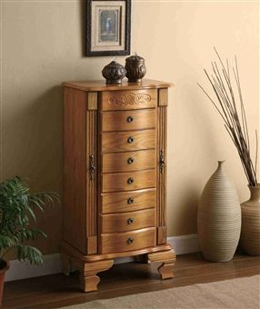 Standing Wooden Jewelry Armoire Five Drawers Contemporary Design