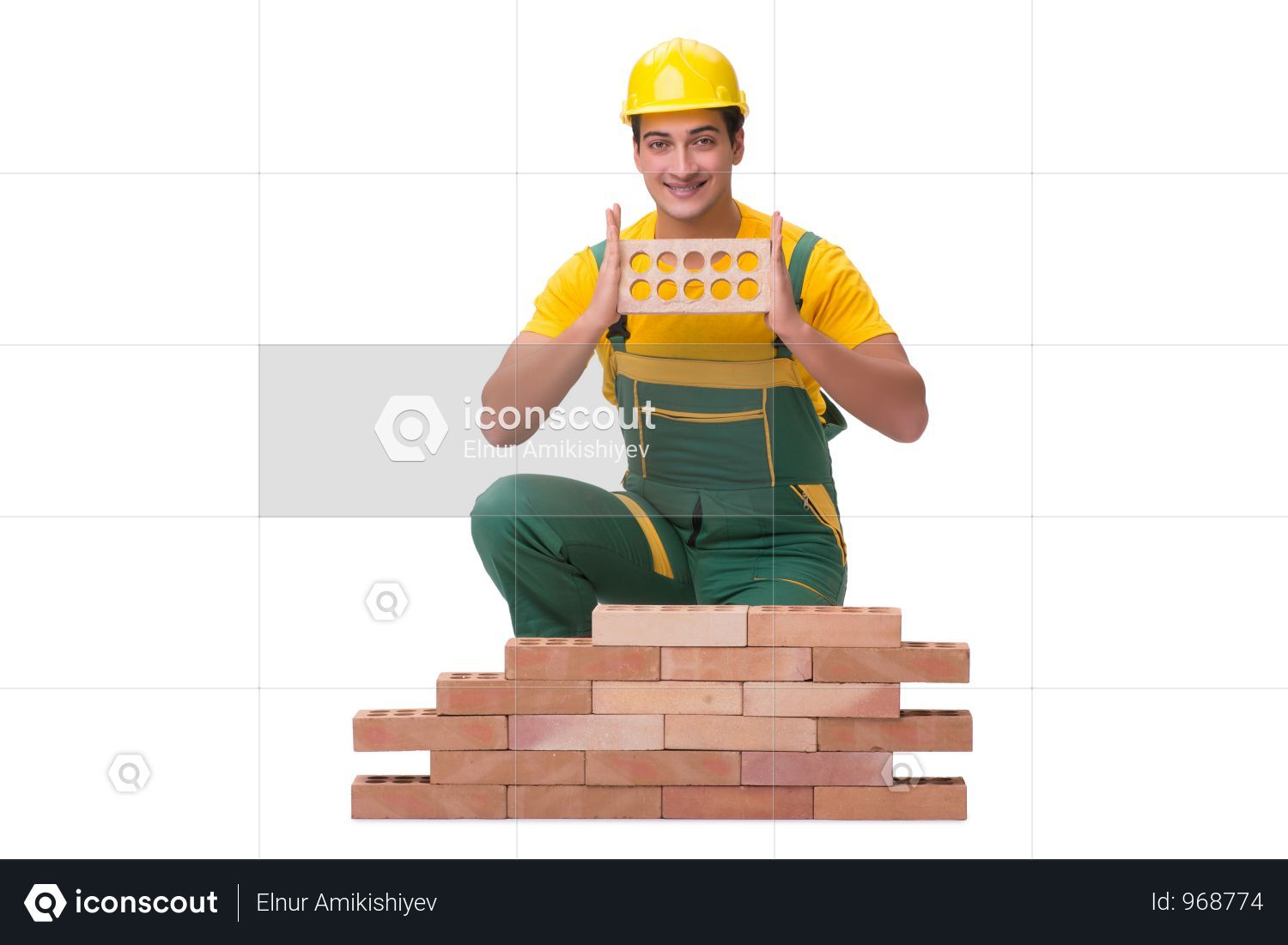 Premium The Handsome Construction Worker Building Brick Wall Photo Download In Png Jpg Format Brick Wall Construction Worker Photo Wall