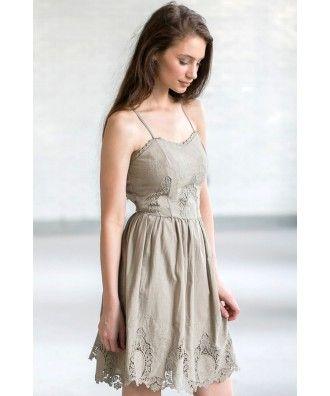 a80b525eac Olive Green Eyelet Dress