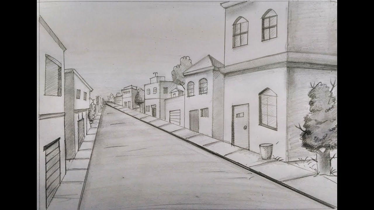 How To Draw A Town Scene Scenery For Kids Step By Step Zeichnen