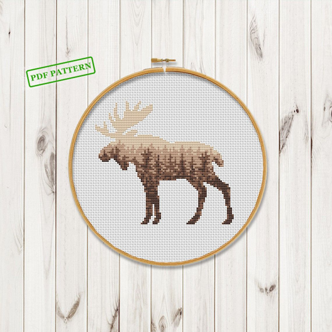 Woodland Animals Cross Stitch Modern Pattern Forest Moose
