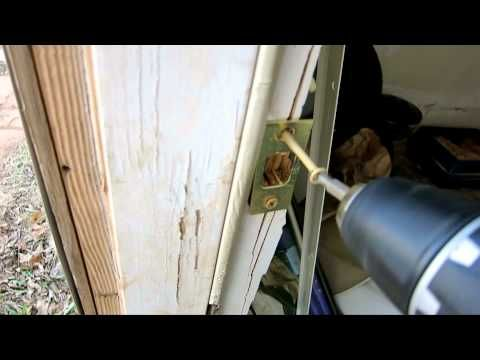 Door Kicked In Repair   Fixing Damaged Door Jamb With Reinforcement Repa.