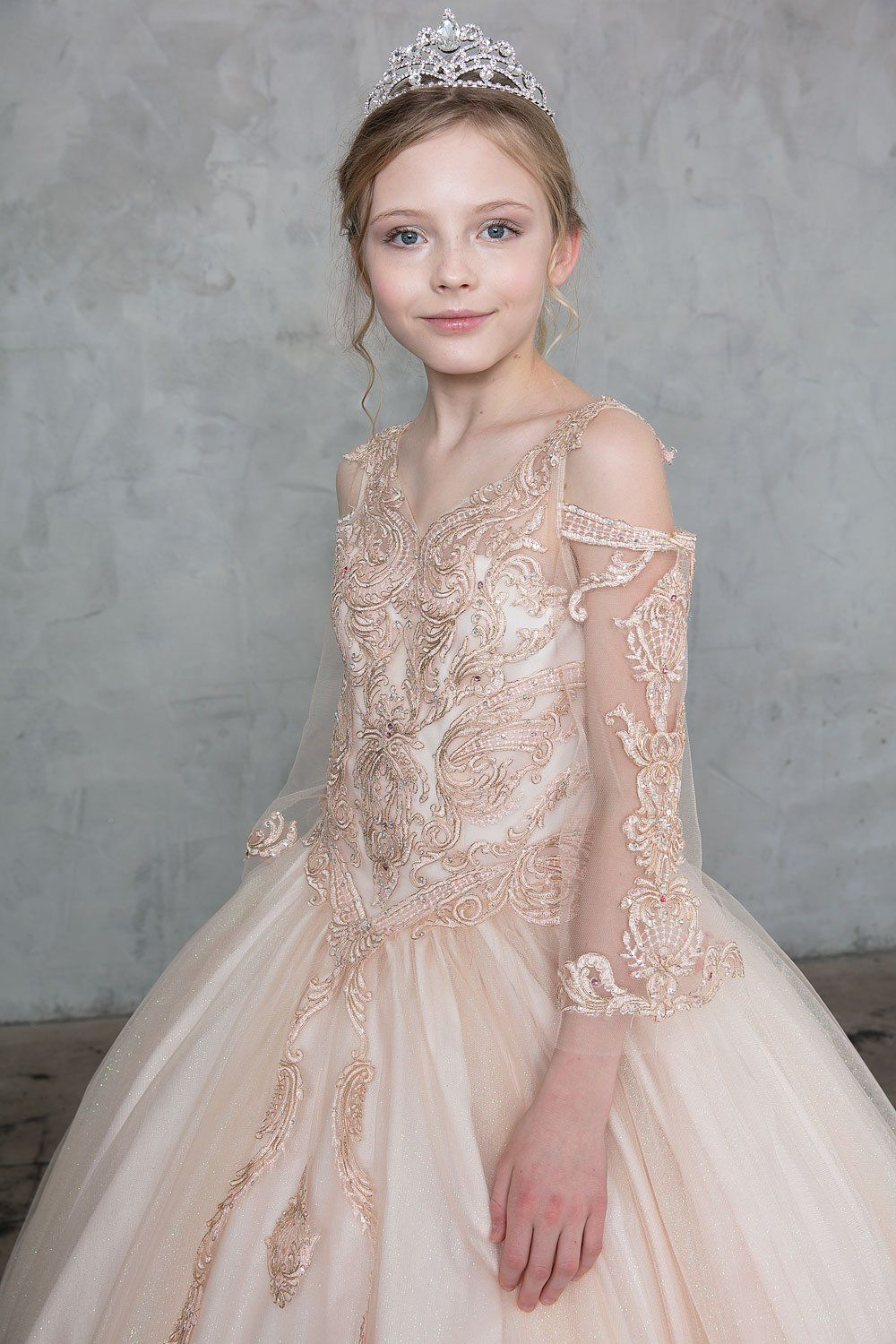 Girls Lace Applique Bell Sleeve Ball Gown by Calla SY134