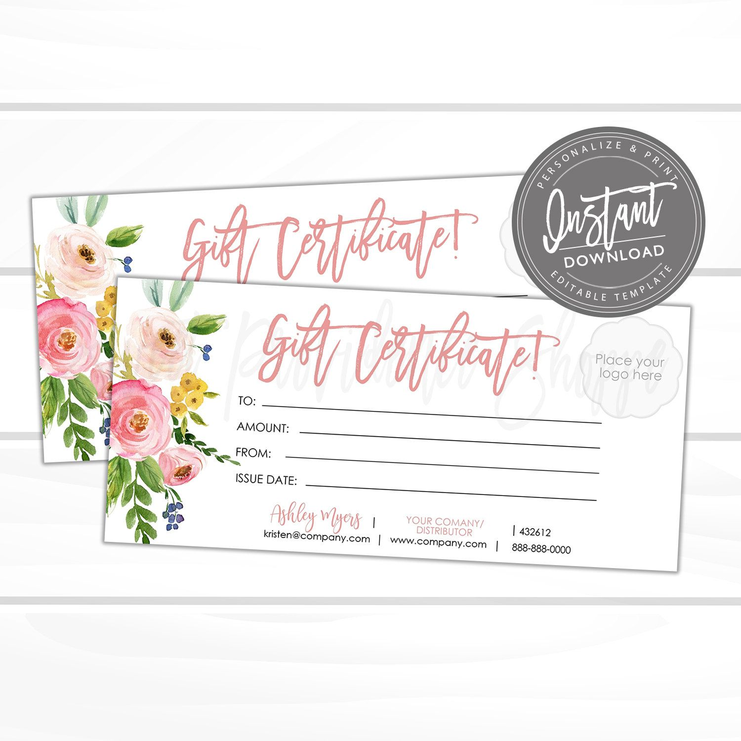 Editable Gift Certificate Printable Floral Gift Voucher Etsy Printable Gift Certificate Gift Certificate Template Printable Gift