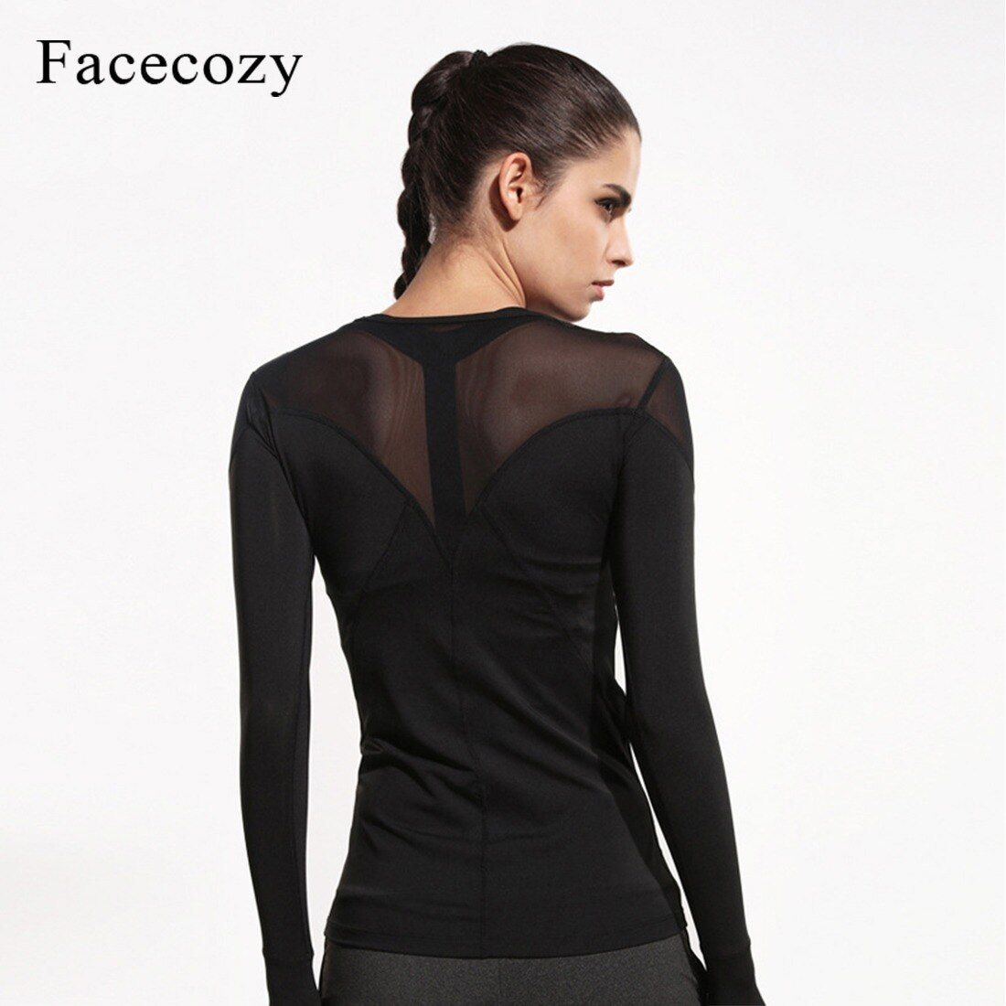 Facecozy Women Fitness Yoga Compression Shirt Female Tops Sport Running Top Women Yoga Shirts Long S...