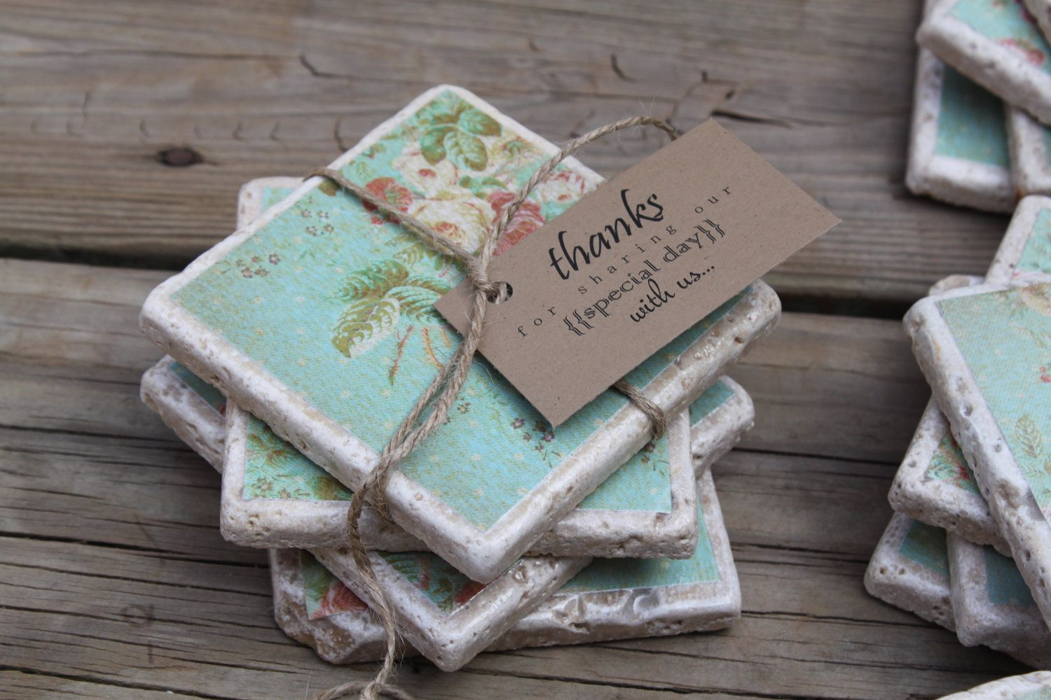 25 stone coaster rustic wedding favors shower favors with for Diy rustic coasters