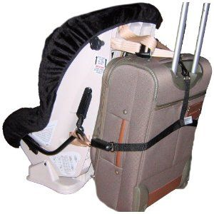 Make a DIY version to lug the car seat around the airport ...