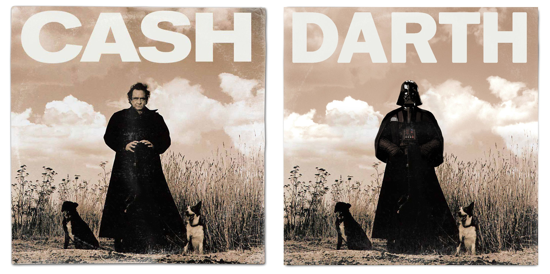 Star Wars Darth Vader Johnny Cash American Recordings Vinyl Album Cover Mash Up Parody Art