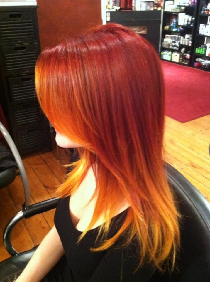 Red Orange Flame Inspired Ombre Fire Hair Ombre Hair Red To