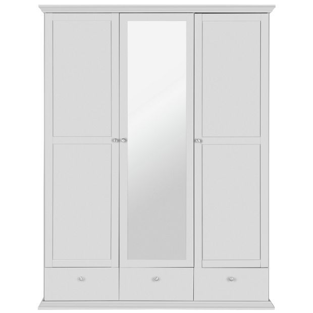 buy home canterbury 3 door 3 drawer mirrored wardrobe - white at