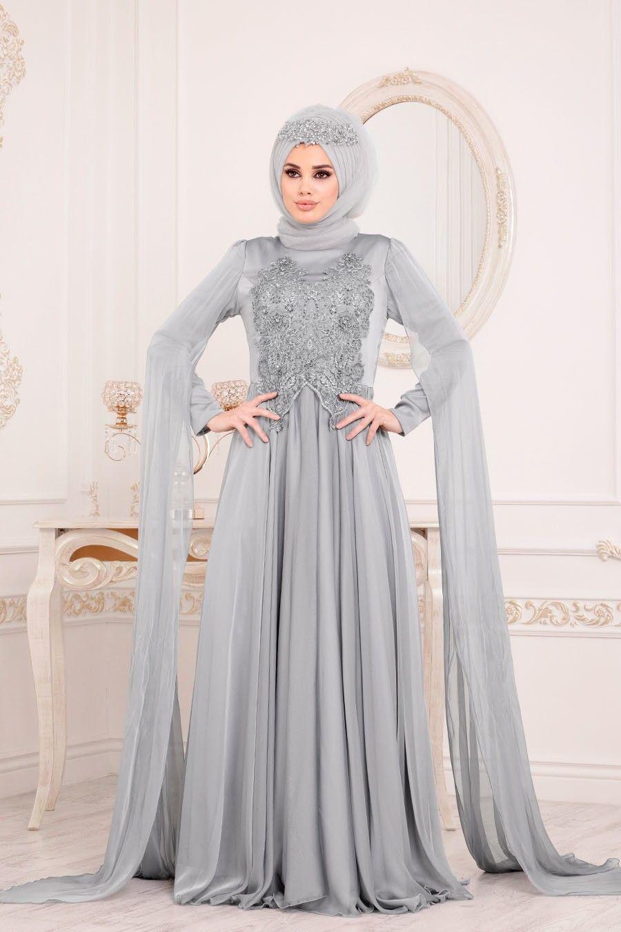 Tesetturlu Abiye Elbise Pelerinli Gri Tesettur Abiye Elbise 3626gr Tesetturisland Com Hijab Prom Dress Fashion Dresses