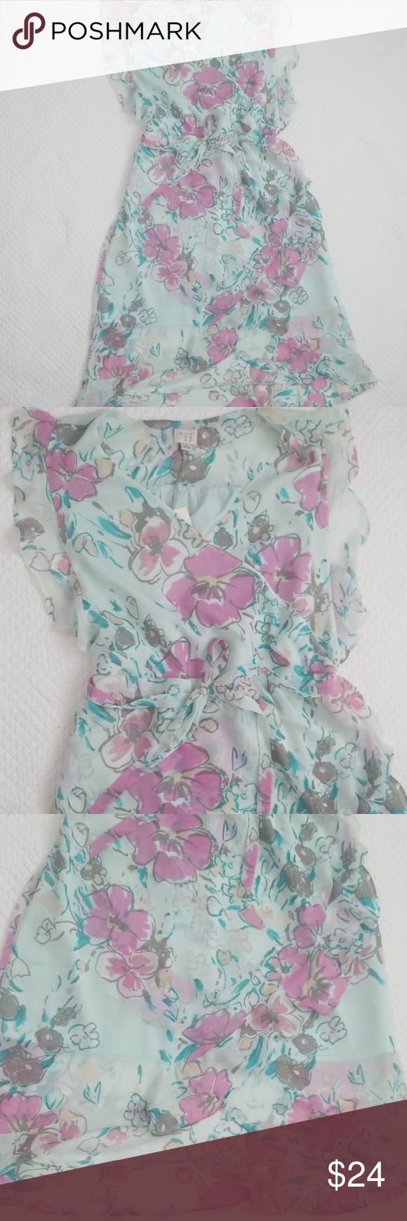 Nwt Floral Dress Target A New Day Mint Green Sz L Target Dresses Mint Green Floral Print Dress [ 1740 x 580 Pixel ]